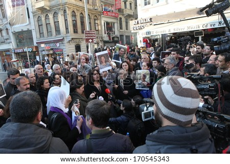 ISTANBUL, TURKEY-JANUARY 9: Demonstration marking the anniversary of the murder last year of three Kurdish women in Paris was put down by the police on January 9 2014 in Istanbul,Turkey.