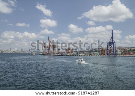 ISTANBUL, TURKEY - 25 JULY, 2016; Haydarpasa Cargo Port that is full of containers in Istanbul, Turkey. The harbor gives loading and unloading services to the vessels.