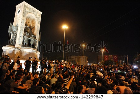 ISTANBUL,TURKEY-JUNE 13:Gezi Park protest continued day and night on June 13,2013 in Istanbul,Turkey.A piano concert were given at Taksim Square.