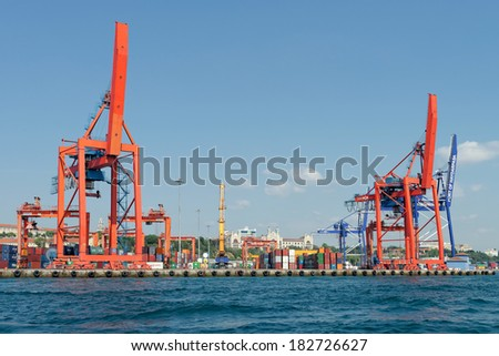ISTANBUL, TURKEY - JUNE 16: Haydarpasa Port and Container Terminal in Kadikoy Seaside on June 16, 2013 in Istanbul, Turkey. Terminal is main trading port in Asian side of the city.
