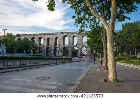 ISTANBUL, TURKEY - JUNE 25, 2015: The Valens Aqueduct is a Roman aqueduct which was the major water-providing system of Constantinopole, modern Istanbul, Turkey