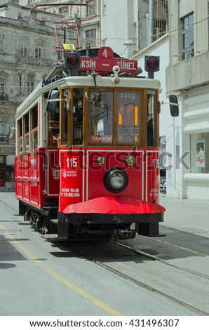 ISTANBUL, TURKEY - JUNE 3, 2016:  View of one of the tram cars operating on the Nostalgia Tram route across the fashionable Beyog?lu district of Istanbul, Turkey.