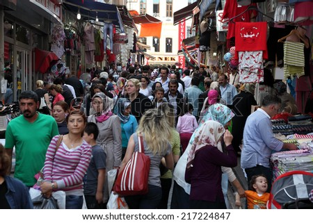 ISTANBUL, TURKEY - MAY 21: Crowded street in the city of Istanbul. May 21, 2011 in Istanbul, Turkey