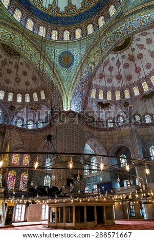 ISTANBUL, TURKEY - MAY 1, 2014: Interior of the famous Blue Mosque. Sultanahmet Mosque in Istanbul, Turkey