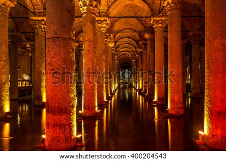 ISTANBUL, TURKEY - MAY 14 : The Basilica Cistern is the largest ancient cisterns on May 14, 2015 in Istanbul, Turkey.