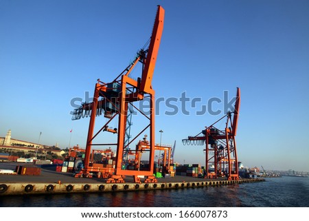 ISTANBUL, TURKEY - OCTOBER 22: Haydarpasa Port and Container Terminal in Kadikoy Seaside on October 22, 2013 in Istanbul, Turkey. Terminal is main trading port in Asian side of the city.