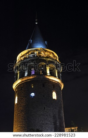 ISTANBUL, TURKEY - OCTOBER 22: Night view of the Galata tower on October 22, 2014 in Istanbul, Turkey. Galata Tower offers a panoramic view of historical part of Istanbul.