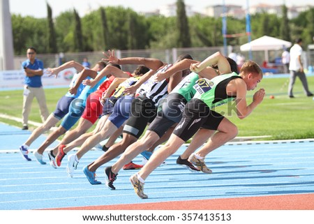 ISTANBUL, TURKEY - SEPTEMBER 19, 2015: Athletes running 100 metres during European Champion Clubs Cup Track and Field Juniors Group A