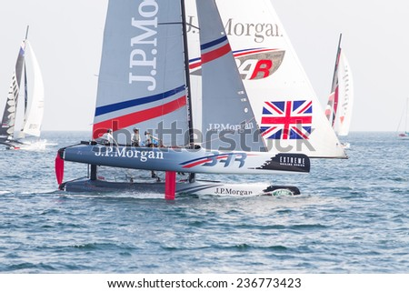 ISTANBUL, TURKEY - SEPTEMBER 14, 2014: Skipper Ben Ainslie, J.P. Morgan BAR Team competes in Extreme Sailing Series.