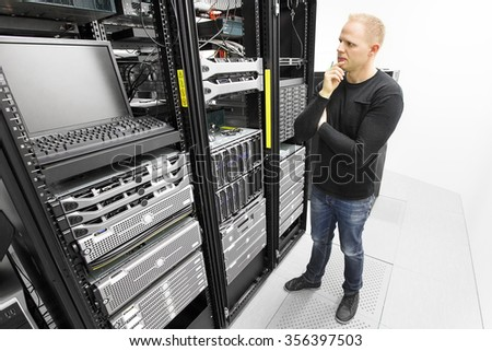 IT consultant try to solve problems in datacenter