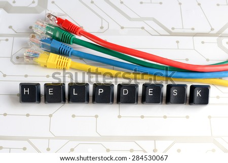 IT HELP, Assistance - HELPDESK made of keyboard keys with colourful network cables on white circuit board background