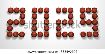It's a 3D render of 2029 Year from Basketball Balls on white background with high resolution.