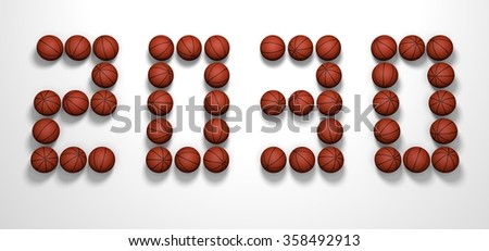 It's a 3D render of 2030 Year from Basketball Balls on white background with high resolution.