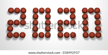It's a 3D render of 2020 Year from Basketball Balls on white background with high resolution.