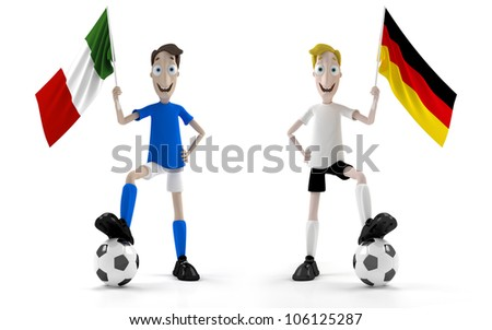 Italian and german smiling cartoon style soccer player with ball and flag