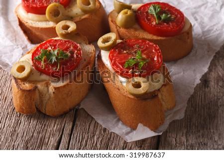 Italian Crostini Baked Tomatoes Olives Mozzarella Stock ...
