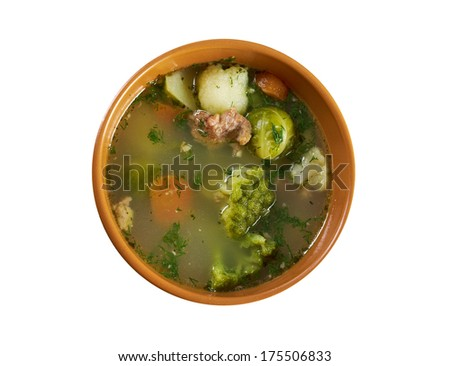italian farm-style country vegetables soup with broccoli ..isolated