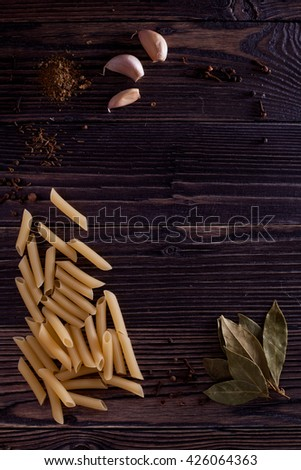 Italian food background on rustic wood boards with copyspace
