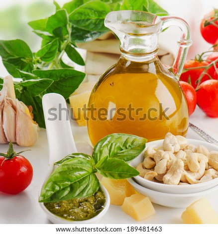 Italian food - pesto and ingridients. Selective focus