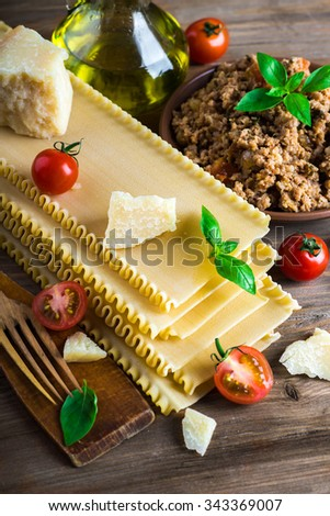Italian lasagna, pasta dish with minced meat and parmesan cheese