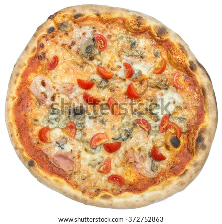 Italian pizza with bacon and mushrooms isolated on white