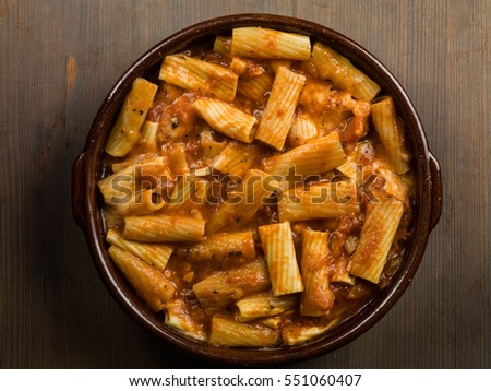 Italian Style Meal of Spicy Penne Arabiatta Pasta