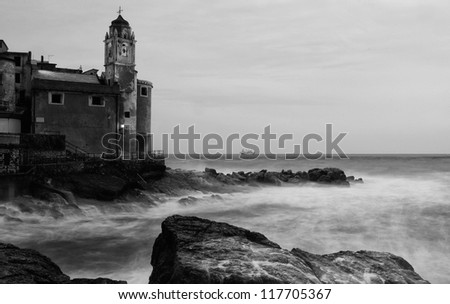 Italian town by the sea on a stormy day