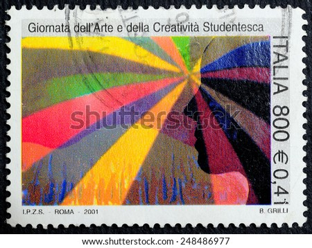 ITALY - CIRCA 2001: A stamp printed in Italy dedicated to Day Art and Creativity Student, B. Grilli, circa 2001