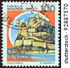 "ITALY - CIRCA 1980: A stamp printed in Italy from the ""Castles"" issue shows Aragonese Castle, Ischia, circa 1980. - stock photo"