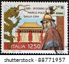 ITALY - CIRCA 1996: A stamp printed in Italy shows Marco Polo's return from China, circa 1996 - stock photo