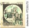 ITALY - CIRCA 1971: a stamp printed in shows image of Scaligero Castle, circa 1971 - stock photo