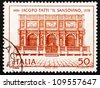 ITALY - CIRCA 1970: a stamp printed in the Italy shows Loggia of St. Mark's Campanile, Venice, by Iacopo Tatti ,Il Sansovino, Architect, circa 1970 - stock photo