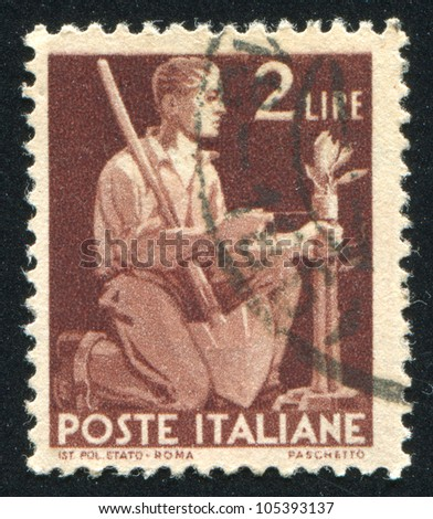 ITALY - CIRCA 1945: stamp printed by Italy, shows Tying Tree, circa 1945