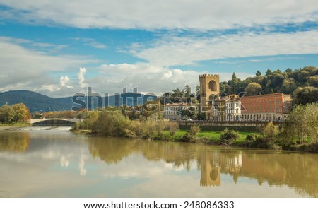 Italy. Florence. River Arno embankment.