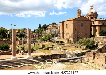 Italy. Roman Forum - one of the most famous sights of the city.