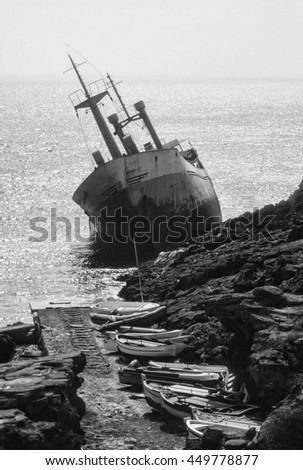Italy, Sicily, Pantelleria Island (Trapani Province), the wreck of a cargo ship ans some fishing boats - FILM SCAN