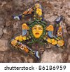 Italy, Sicily, Taormina. Trinacria ancient symbol of Sicily in typical Sicilian glazed ceramic - stock photo