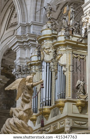 JAEN, SPAIN - may 2016, 2: Cathedral in Jaen, also called Assumption of the Virgin Cathedral, monumental main organ inside the choir, is one of the biggest of Spain, realized in 1780, Jaen, Spain