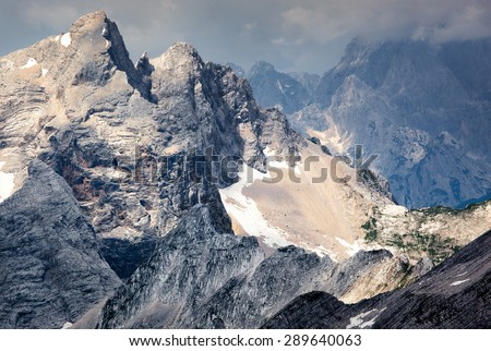 Jagged mountain ridges in the Julian Alps in Slovenia.