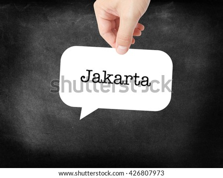 Jakarta  written on a speechbubble