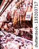 Jamon - traditional meat at spanish market - stock photo