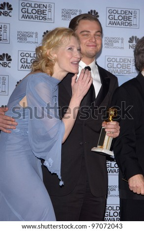 Jan 16, 2005; Los Angeles, CA: LEONARDO DiCAPRIO & CATE BLANCHETT at the 62nd Annual Golden Globe Awards at the beverly Hilton Hotel.