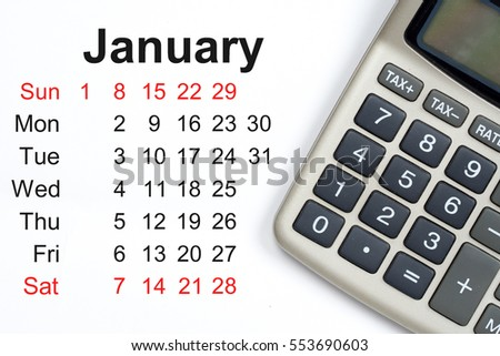 january 2017 calendar, calculator with tax buttons