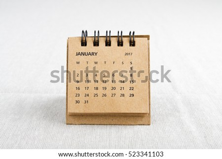 January. Calendar sheet. Two thousand seventeen year calendar on bright background.