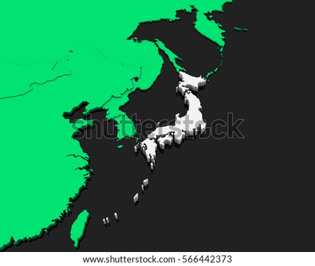 Japan Map Country Stock Vector Shutterstock - Japan map 3d