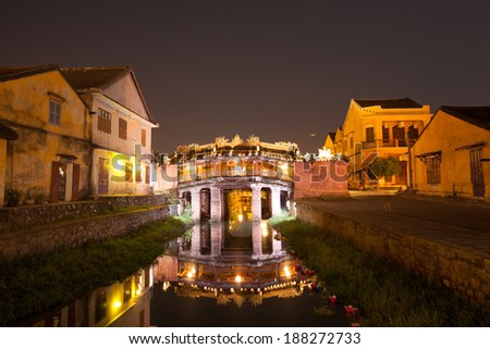 Japanese Bridge in Hoi An at night, Vietnam