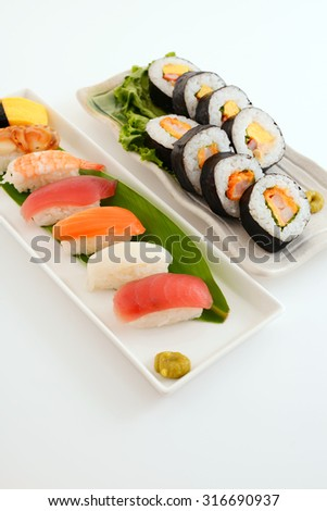 Sushi plate presentation on pure white stock photo for Asian cuisine ppt