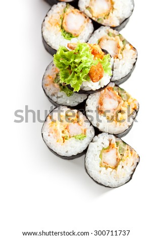 Japanese Cuisine - Sushi Roll with Deep Fried Shrimps insisde