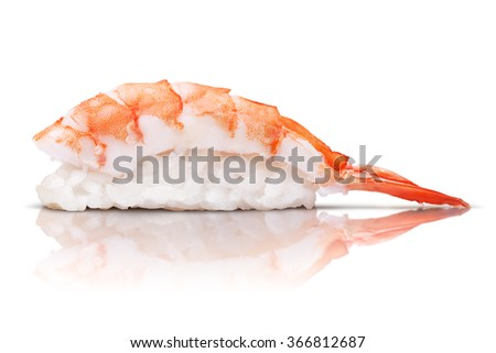 japanese cuisine. sushi shrimp on white background
