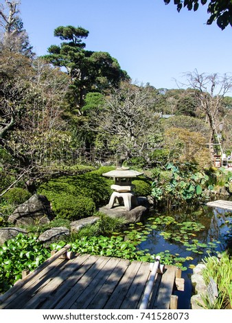Japanese Garden And Pond.